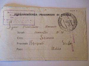 Italien, POW Mail Italien Prisoner Camp South Africa 1944 nach Agrigento (41425)