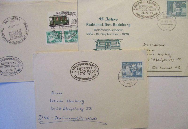 DDR Traditionsbahn Radebeul Radeburg, 3 Bahnpost Belege (57276)