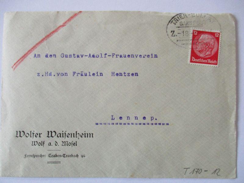 Bahnpost Trier Bullay Brief 1933 aus Wolf an der Mosel (57328)