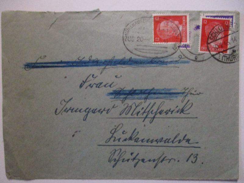 Bahnpost Mühlhausen Ebeleben Brief 1943, Doppelverwendung (57318)