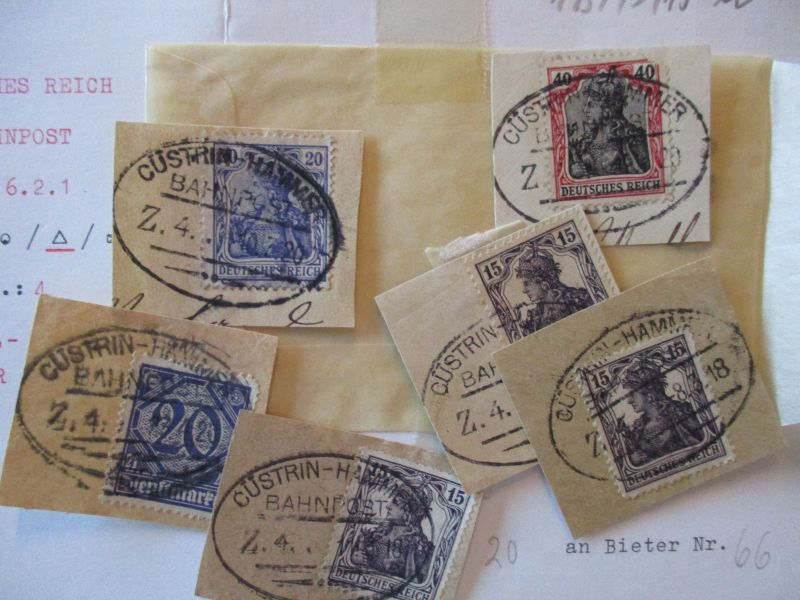 Bahnpost Cüstrin Hammer, 6 Briefstücke auf alter Loskarte (57316)