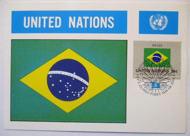 UNO Flaggen Maximumkarte 1983 Brasilien (51155)
