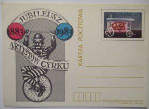 Polen Ganzsache Zirkus Einrad 1983 (20053)