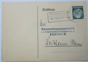 D.Reich, Landpoststempel Hevensen über Nörten-Hardenberg 1934 (28807)
