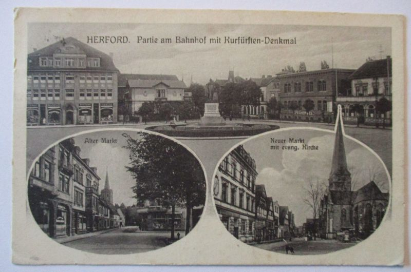 Herford Bahnhof, Markt, Bahnpost Herford Wallenbrück Zug 10, 1916 (20843)