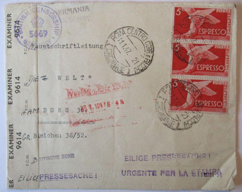 Italien, Zensurbrief 1947 von Rom nach Hamburg (69617)
