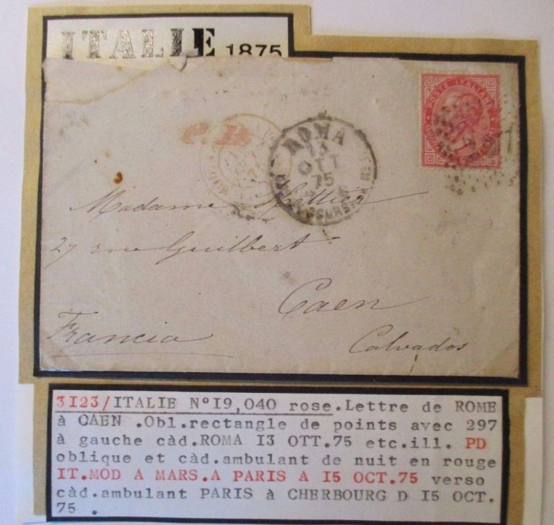 Italien, Michel Nr. 20 auf Brief nach Caen (44688)