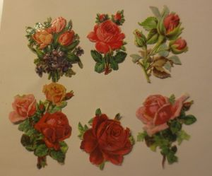 6.Oblaten, Rosen, Blumen,     1900,  6,5 cm x 4 cm  ♥  (3824)