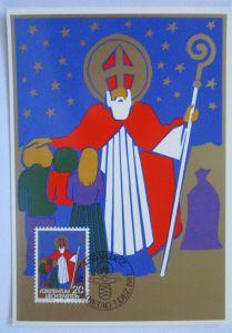 Weihnachten Nikolaus, Maximumkarte Liechtenstein 1981 (36880)