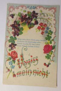 Blumen, Vergiss mein nicht, Spruch,  1908, Prägekarte, Stoffrosen, ♥ (61919)