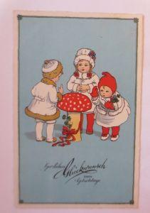 Neujahr, Kinder, Mantel, Pilz, Kleeblatt,  1930 ♥ (28528)