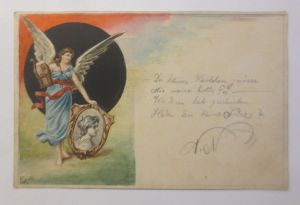 Handgemalt, Engel, Harfe, Bild,  1900, sig, N.N  ♥ (36955)