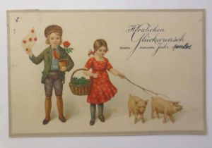 Neujahr, Kinder, Mode, Schwein, Korb, Kleeblatt,   1924 ♥ (5111)