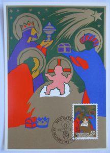 Weihnachten Heilige 3 Könige, Maximumkarte Liechtenstein 1981 (34471)