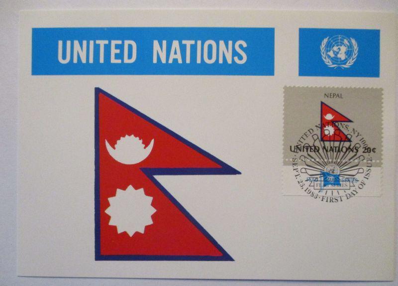 UNO Flaggen Maximumkarte 1983 Nepal (61646)