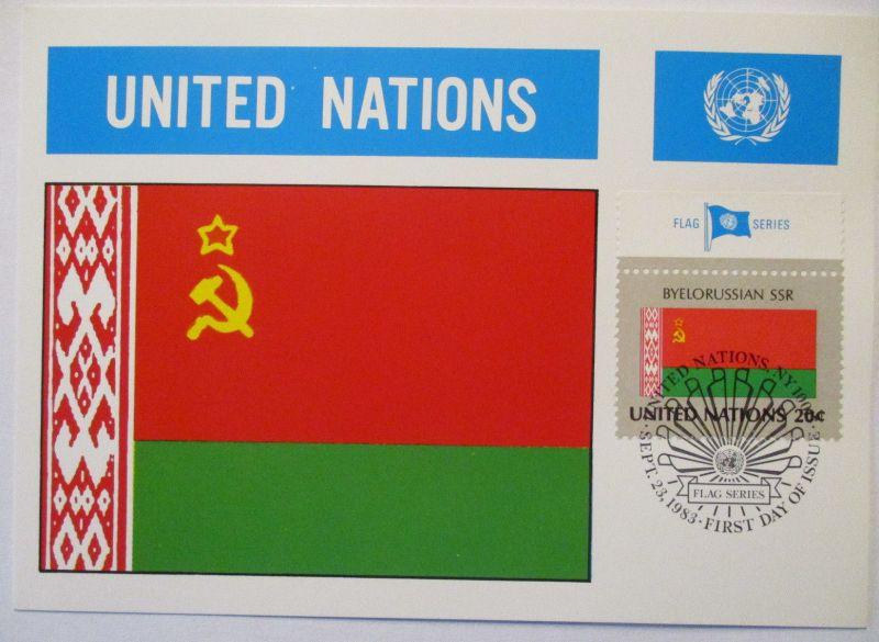 UNO Flaggen Maximumkarte 1983 Weißrußland Belarussian SSR (67260)