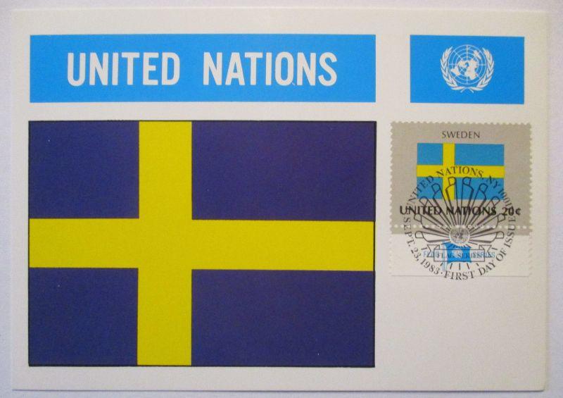 UNO Flaggen Maximumkarte 1983 Schweden (63220)