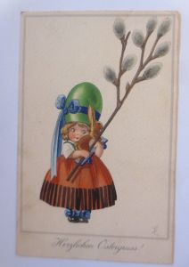 Ostern, Kinder, Mode, Hase, Osterei-Hut, 1930, Meissner & Buch ♥ (5526)