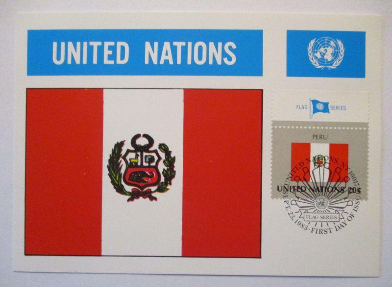 UNO Flaggen Maximumkarte 1983 Peru (63214)