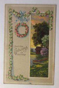 Geburtstag, Landschaft, See, Haus, Blumen, Rosen,   1910, Prägekarte  ♥ (71305)