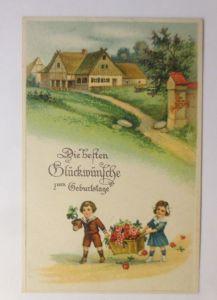 Geburtstag, Kinder, Mode, Korb, Blumen, Bauernhof, 1918 ♥ (71294)