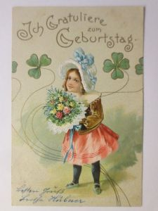 Geburtstag, Kinder, Mode, Blumen, Kleeblatt,  1904, Prägekarte ♥ (71292)