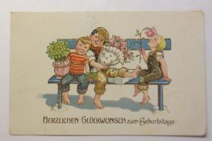 Geburtstag, Kinder, Mode, Bank, Blumen, Rauchen,  1917  ♥ (71291)