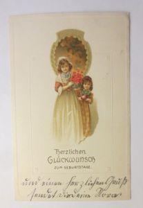Geburtstag, Kinder, Mode, Blumen, Biedermeier,  1917, Prägekarte ♥ (71288)