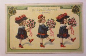 Geburtstag, Kinder, Mode, Hutmode, Rosen, Blumen, 1912, Prägekarte ♥ (71286)