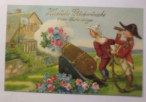 Geburtstag, Kinder, Soldat, Mode, Kanone, Blumen, 1908, Prägekarte ♥ (71282)