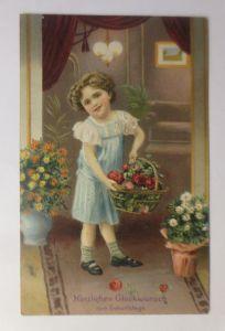 Geburtstag, Kinder, Mode, Korb, Korb,  Rosen,  1910, Prägekarte ♥ (71280)