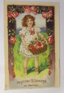 Geburtstag, Kinder, Mode,Korb, Blumen, Rosen,  1909, Golddruck  ♥ (71279)