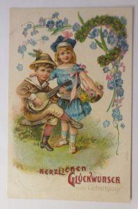 Geburtstag, Kinder, Mode, Mandoline, Blumen,  1906, Prägekarte  ♥ (71278)