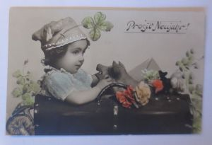 Neujahr, Kinder, Koffer, Schwein, Pilze,   1907 ♥ (71263)