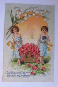 Kinder, Mode, Korb, Rosen, Maiglöckchen,  1908, Prägekarte ♥ (71243)