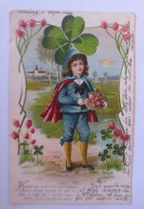 Kinder, Mode, Kleeblatt, Landschaft, Jugendstil, 1905, Prägekarte ♥ (71242)