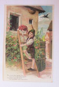 Kinder, Mode, Leiter, Blumen, Schwalben, 1910, Prägekarte  ♥ (71238)