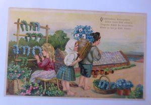 Kinder, Mode, Hufeisen, Blumen,  1909, Prägekarte  ♥ (71237)