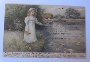 Kinder, Mode, See, Enten, Futter, 1905, Meissner & Buch  ♥ (71236)