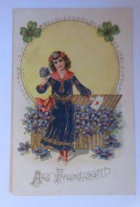 Kinder, Mode, Veilchen, Kleeblatt,  1910, Prägekarte, Golddruck, ♥ (71233)