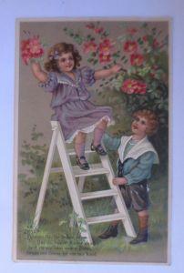 Kinder, Mode, Blumen, Leiter, 1910, Prägekarte ♥ (71232)