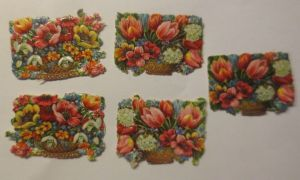 5.Oblaten, Blumen,     1900,  4,5 cm x 3 cm  ♥  (3282)