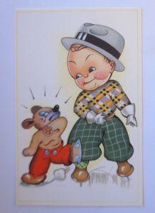Neujahr, Kinder, Hund, Schlittschuhlaufen,   1930  ♥ (71222)