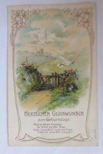 Geburtstag, Landschaft, Tauben, Jugendstil,   1906, Prägekarte ♥ (66933)