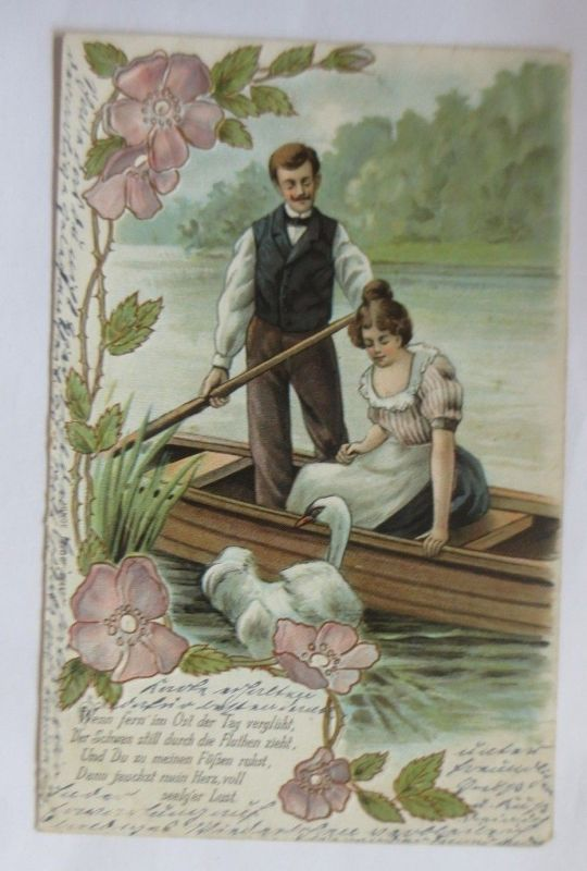 Jugendstil, Männer, Frauen, Boot, Schwan, Blumen,  1903, Prägekarte ♥ (70086)
