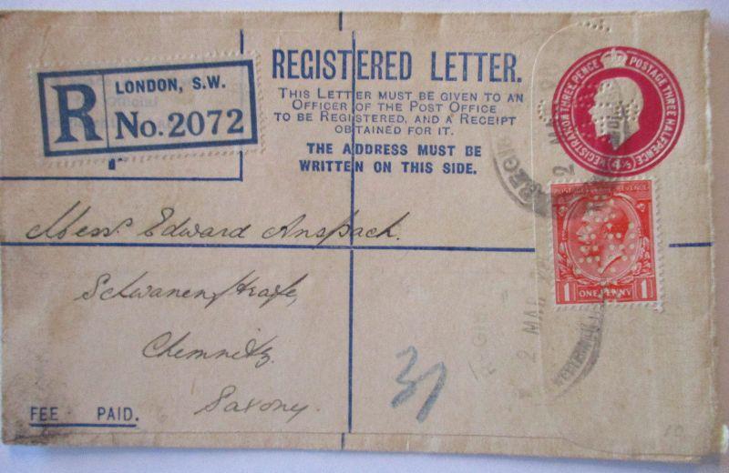 Großbritannien R-Ganzsache Perfins 1928 (45729)