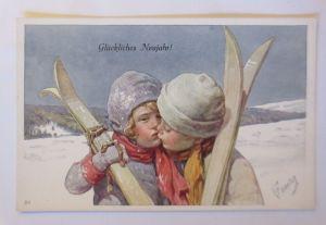 Neujahr, Kinder, Mode, Wintersport, Ski, Kuss,  1910, K. Feiertag  ♥ (71221)