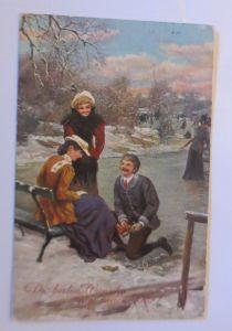Neujahr, See, Frauen, Männer, Schlittschuhlaufen,   1911  ♥ (71208)