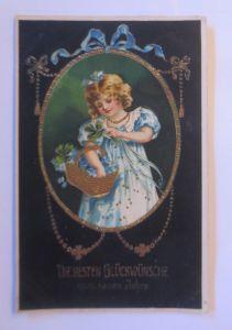 Neujahr, Kinder, Mode, Kleeblatt,  1907, Golddruck ♥ (71199)