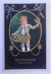 Neujahr, Kinder, Mode, Kleeblatt,  1907, Golddruck ♥ (71198)
